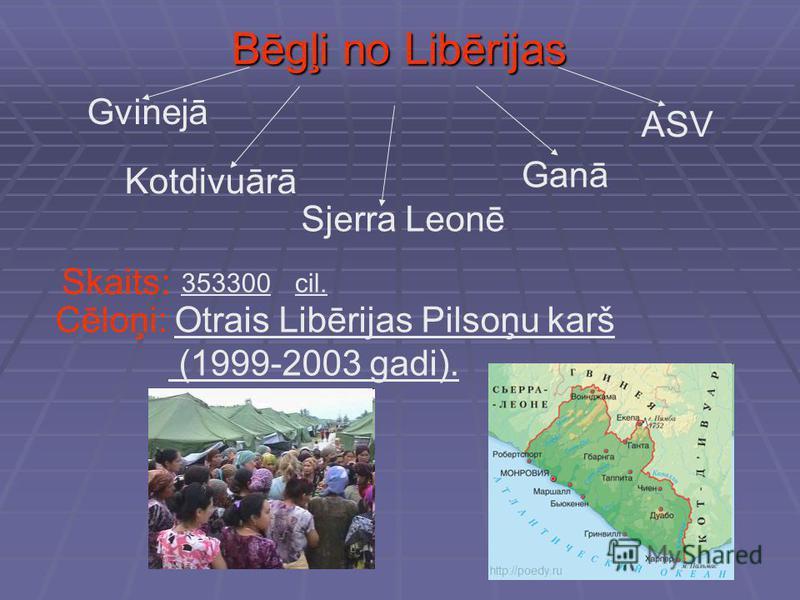 Bēgļi no Libērijas Gvinejā Kotdivuārā Sjerra Leonē Ganā ASV Skaits: 353300cil. Cēloņi: Otrais Libērijas Pilsoņu karš (1999-2003 gadi).