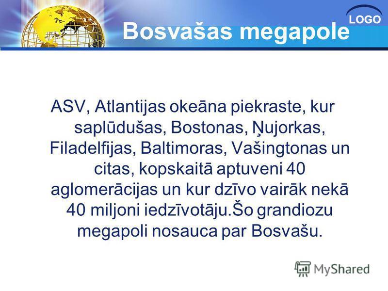 LOGO Bosvašas megapole ASV, Atlantijas okeāna piekraste, kur saplūdušas, Bostonas, Ņujorkas, Filadelfijas, Baltimoras, Vašingtonas un citas, kopskaitā aptuveni 40 aglomerācijas un kur dzīvo vairāk nekā 40 miljoni iedzīvotāju.Šo grandiozu megapoli nos