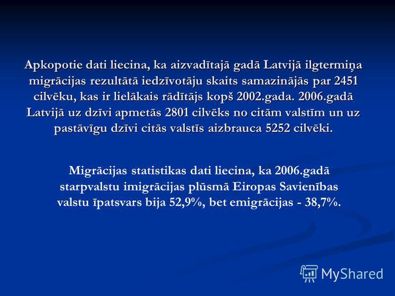 Apkopotie dati liecina, ka aizvadītajā gadā Latvijā ilgtermiņa migrācijas rezultātā iedzīvotāju skaits samazinājās par 2451 cilvēku, kas ir lielākais rādītājs kopš 2002.gada. 2006.gadā Latvijā uz dzīvi apmetās 2801 cilvēks no citām valstīm un uz past