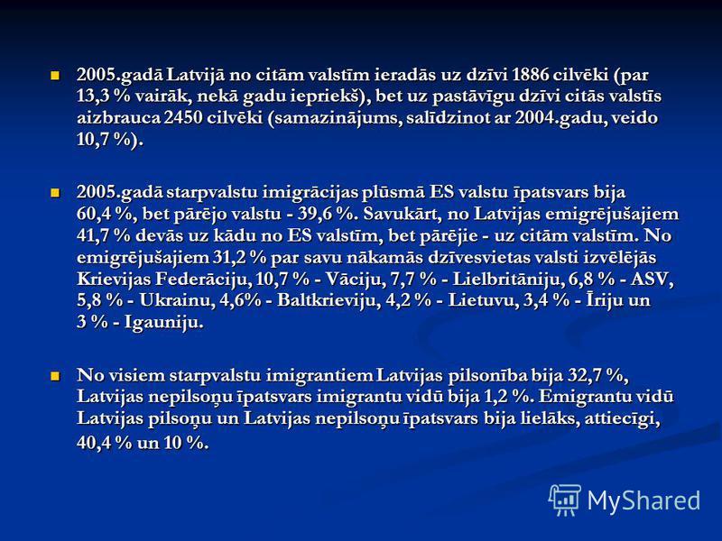 2005.gadā Latvijā no citām valstīm ieradās uz dzīvi 1886 cilvēki (par 13,3 % vairāk, nekā gadu iepriekš), bet uz pastāvīgu dzīvi citās valstīs aizbrauca 2450 cilvēki (samazinājums, salīdzinot ar 2004.gadu, veido 10,7 %). 2005.gadā Latvijā no citām va