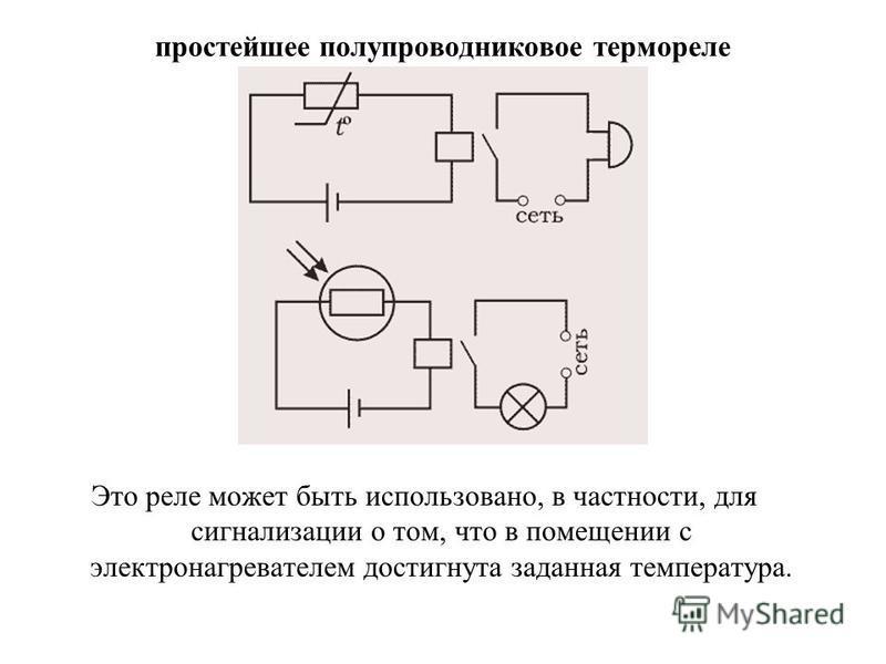 простейшее полупроводниковое термореле Это реле может быть использовано, в частности, для сигнализации о том, что в помещении с электронагревателем достигнута заданная температура.