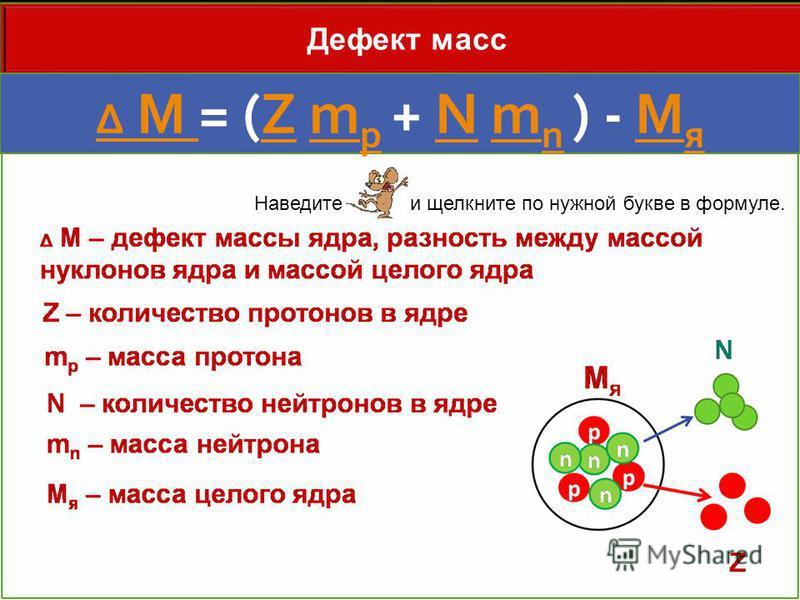 Дефект масс Δ M Δ M = (Z m p + N m n ) - M яZm pNm nM я Наведите и щелкните по нужной букве в формуле.