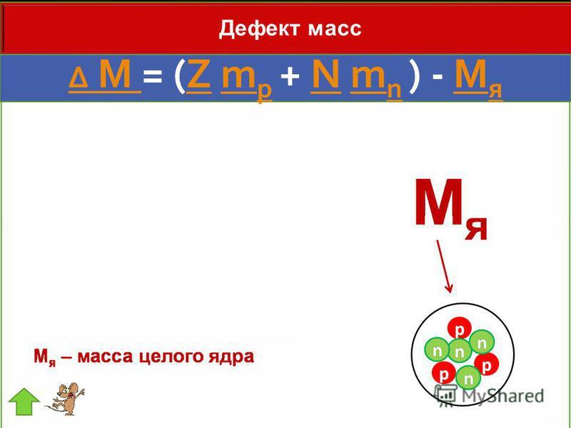 Δ M Δ M = (Z m p + N m n ) - M яZm pNm nM я Дефект масс