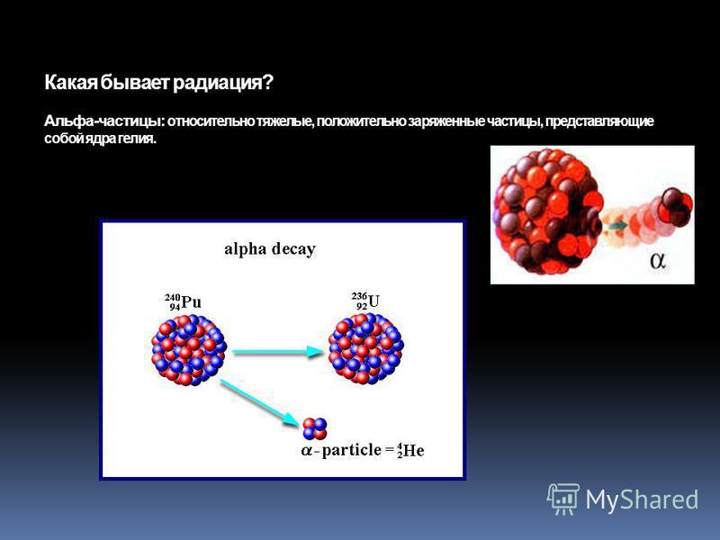 Какая бывает радиация? Альфа-частицы: относительно тяжелые, положительно заряженные частицы, представляющие собой ядра гелия.
