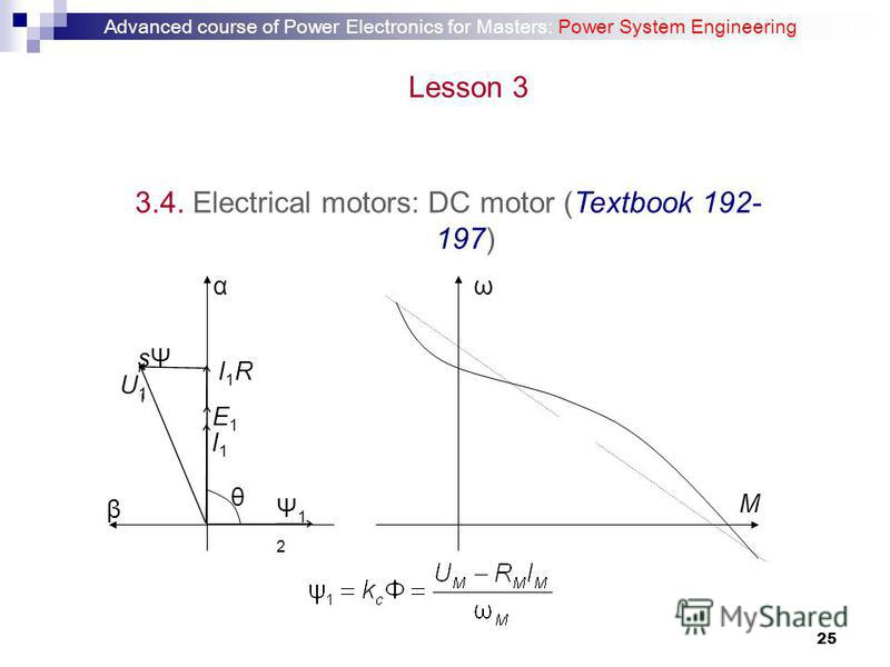 25 3.4. Electrical motors: DC motor (Textbook 192- 197) ω M β α θ I1I1 Ψ12Ψ12 sΨ1sΨ1 I1R1I1R1 E1E1 U1U1 Advanced course of Power Electronics for Masters: Power System Engineering Lesson 3