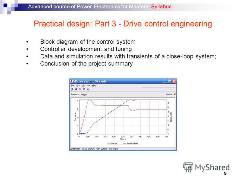 9 Practical design: Part 3 - Drive control engineering Block diagram of the control system Controller development and tuning Data and simulation results with transients of a close-loop system; Conclusion of the project summary Advanced course of Powe