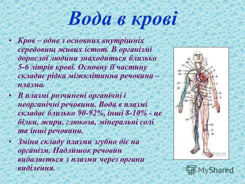 Вода в крові Кров – одне з основних внутрішніх середовищ живих істот. В організмі дорослої людини знаходиться близько 5-6 літрів крові. Основну її частину складає рідка міжклітинна речовина – плазма. В плазмі розчинені органічні і неорганічні речовин
