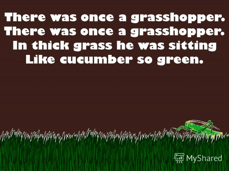 There was once a grasshopper. In thick grass he was sitting Like cucumber so green.