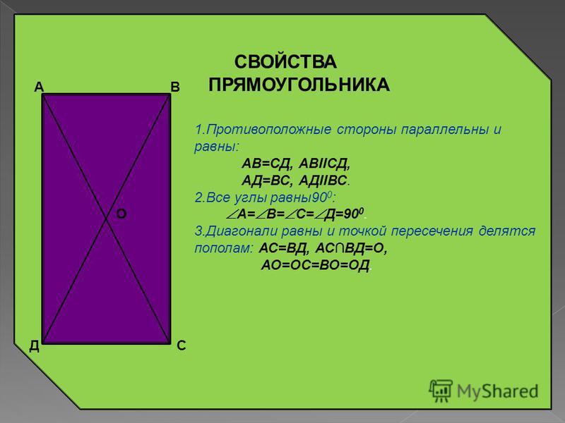 СВОЙСТВА ПАРАЛЛЕЛОГРАММА : А В Д С 1. Противоположные стороны параллельны и равны: АВ=СД, АВIICД, АД=ВС, АДIIВС. 2. Противоположные углы равны: А= С, В= Д; сумма соседних углов 180 0 : А+ В= В+ С= С+ Д= Д+ А=180 0. 3. Диагонали точкой пересечения дел