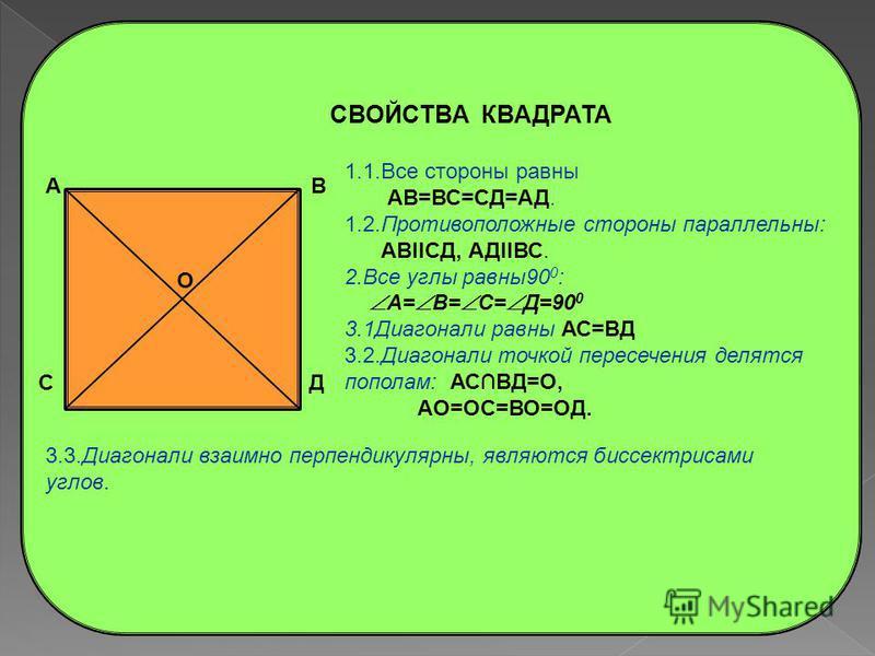 СВОЙСТВА РОМБА А В Д С 1.1. Все стороны равны АВ=ВС=СД=АД. 1.2. Противоположные стороны параллельны: АВIICД, АДIIВС. 2.1. Противоположные углы равны: А= С, В= Д. 2.2. Сумма соседних углов равна 180 0 : А+ В= В+ С= С+ Д= Д+ А=180 0. 3.1. Диагонали точ