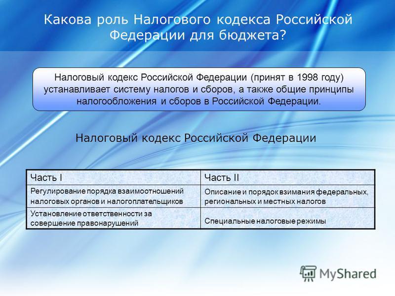Какова роль Налогового кодекса Российской Федерации для бюджета? Налоговый кодекс Российской Федерации (принят в 1998 году) устанавливает систему налогов и сборов, а также общие принципы налогообложения и сборов в Российской Федерации. Налоговый коде