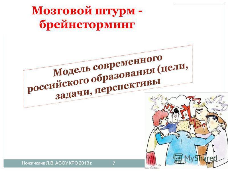 Мозговой штурм - брейнсторминг Ножичкина Л.В. АСОУ КРО 2013 г. 7