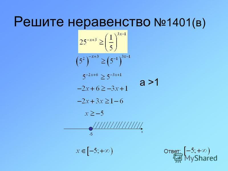 Решите неравенство 1401(в) x -5 Ответ: а >1 -5