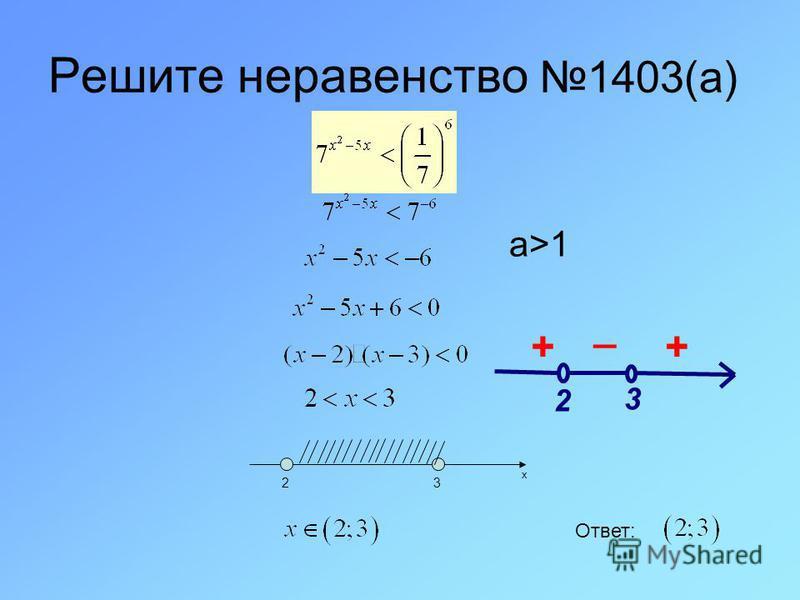 Решите неравенство 1403(а) _ ++ 3 2 x 23 Ответ: а>1