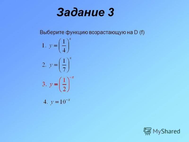 Задание 3 Выберите функцию возрастающую на D (f)
