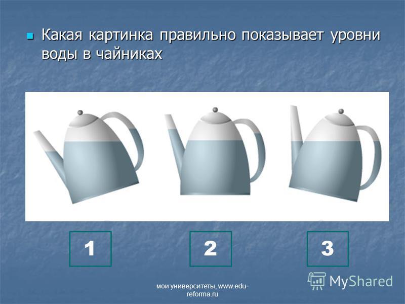 Какая картинка правильно показывает уровни воды в чайниках Какая картинка правильно показывает уровни воды в чайниках 123 мои университеты, www.edu- reforma.ru