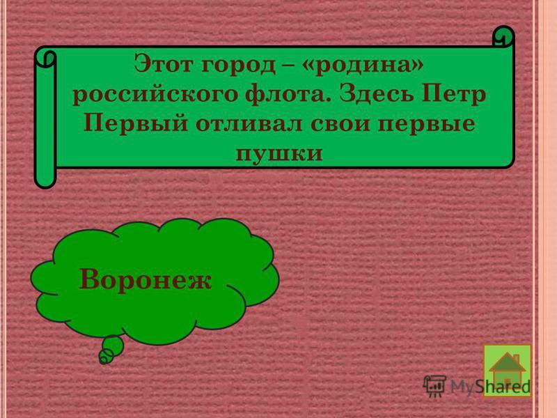 Этот город – «родина» российского флота. Здесь Петр Первый отливал свои первые пушки Воронеж
