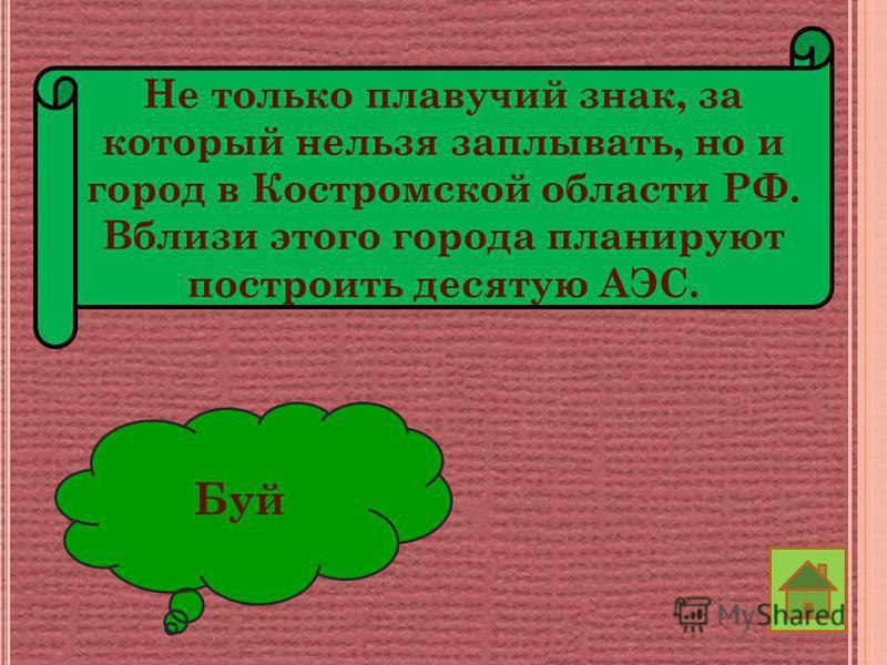 Не только плавучий знак, за который нельзя заплывать, но и город в Костромской области РФ. Вблизи этого города планируют построить десятую АЭС. Буй