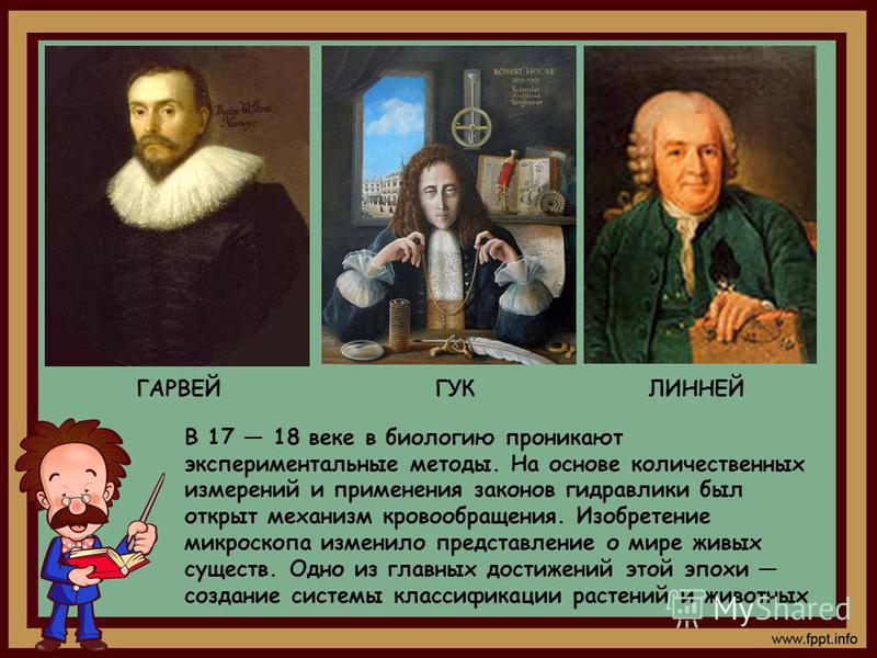 В 17 18 веке в биологию проникают экспериментальные методы. На основе количественных измерений и применения законов гидравлики был открыт механизм кровообращения. Изобретение микроскопа изменило представление о мире живых существ. Одно из главных дос