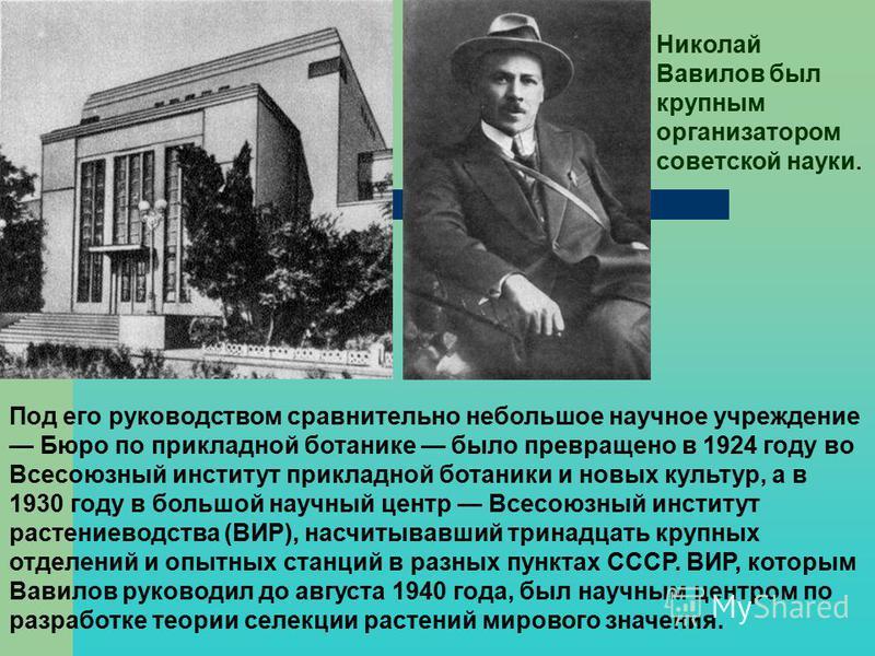 Под его руководством сравнительно небольшое научное учреждение Бюро по прикладной ботанике было превращено в 1924 году во Всесоюзный институт прикладной ботаники и новых культур, а в 1930 году в большой научный центр Всесоюзный институт растениеводст
