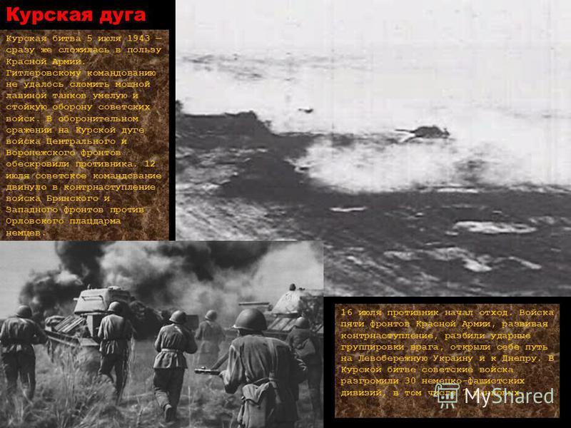 Курская дуга Курская битва 5 июля 1943 сразу же сложилась в пользу Красной Армии. Гитлеровскому командованию не удалось сломить мощной лавиной танков умелую и стойкую оборону советских войск. В оборонительном сражении на Курской дуге войска Центральн