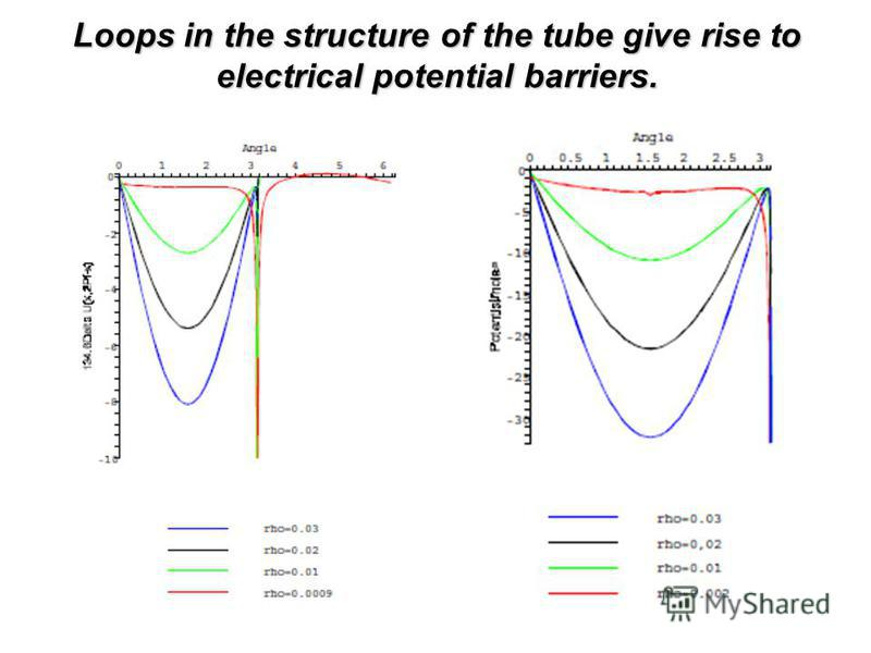 Loops in the structure of the tube give rise to electrical potential barriers.