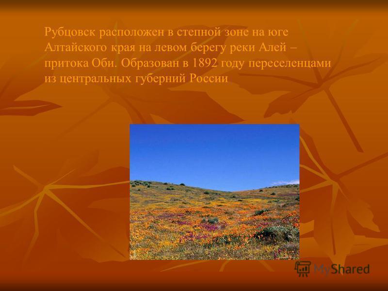 Рубцовск расположен в степной зоне на юге Алтайского края на левом берегу реки Алей – притока Оби. Образован в 1892 году переселенцами из центральных губерний России