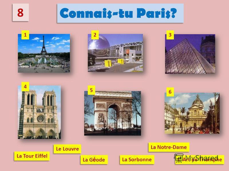 8 8 Connais-tu Paris? La Tour Eiffel La G é ode Le Louvre La Notre-Dame L Arc de Triomphe La Sorbonne 23 6 1 4 5