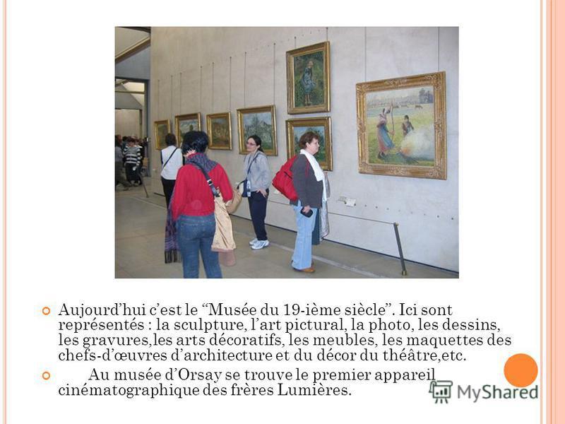 Aujourdhui cest le Musée du 19-ième siècle. Ici sont représentés : la sculpture, lart pictural, la photo, les dessins, les gravures,les arts décoratifs, les meubles, les maquettes des chefs-dœuvres darchitecture et du décor du théâtre,etc. Au musée d