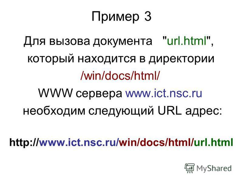 HTTP URLs HTTP – Hyper Text Transport Protocol (протокол передачи гипертекста). HTTP-сервера обычно используются для предоставления гипертекстовых документов. Такие документы, в отличие от обычных, имеют ссылки на другие документы (не обязательно рас