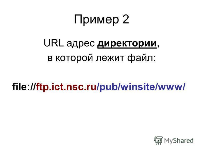 Пример 1 файл с именем internet.zip лежит на FTP-сервере ftp.ict.nsc.ru в директории /pub/winsite/www/. Тогда URL-адрес этого файла будет выглядеть так: file://ftp.ict.nsc.ru/pub/winsite/www/internet.zip