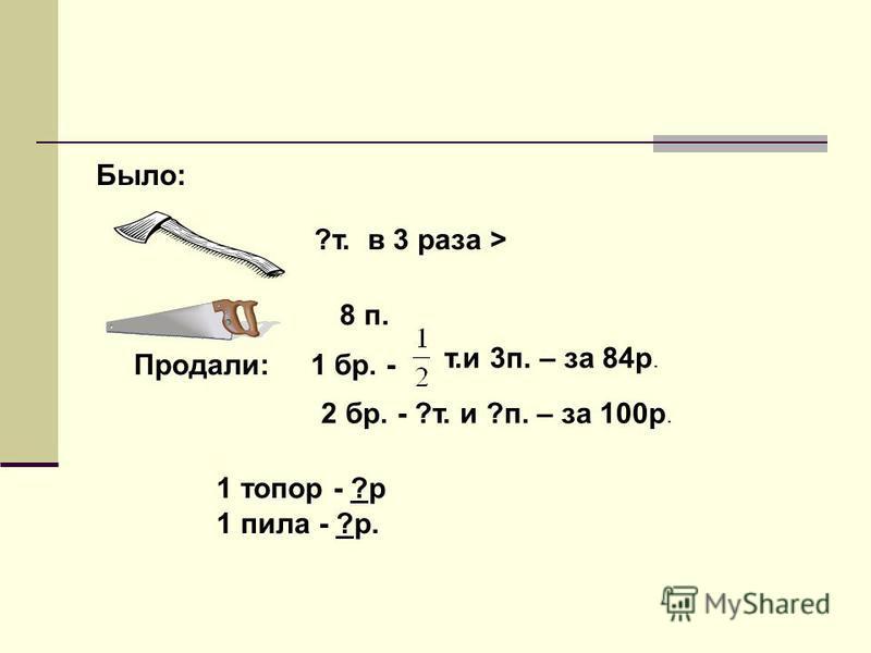 Было: 8 п. ?т. в 3 раза > Продали: 1 бр. - т.и 3 п. – за 84 р. 2 бр. - ?т. и ?п. – за 100 р. 1 топор - ?р 1 пила - ?р.