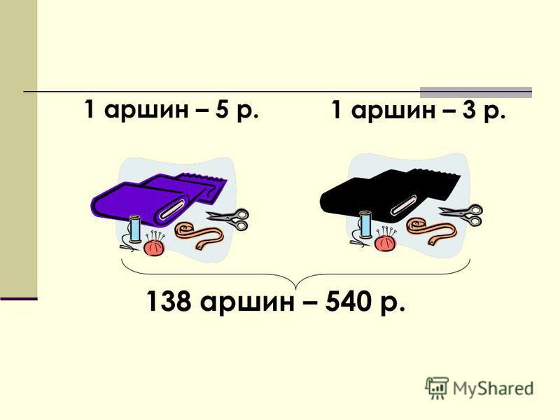 138 аршин – 540 р. 1 аршин – 5 р. 1 аршин – 3 р.