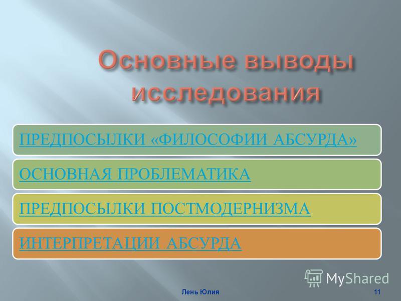 ПРЕДПОСЫЛКИ «ФИЛОСОФИИ АБСУРДА»ОСНОВНАЯ ПРОБЛЕМАТИКАПРЕДПОСЫЛКИ ПОСТМОДЕРНИЗМАИНТЕРПРЕТАЦИИ АБСУРДА Лень Юлия 11