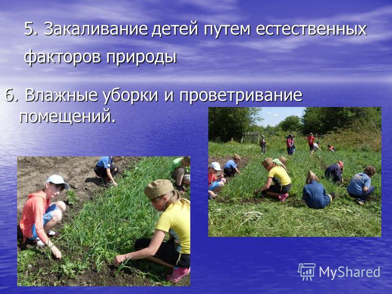 5. Закаливание детей путем естественных факторов природы 6. Влажные уборки и проветривание помещений.