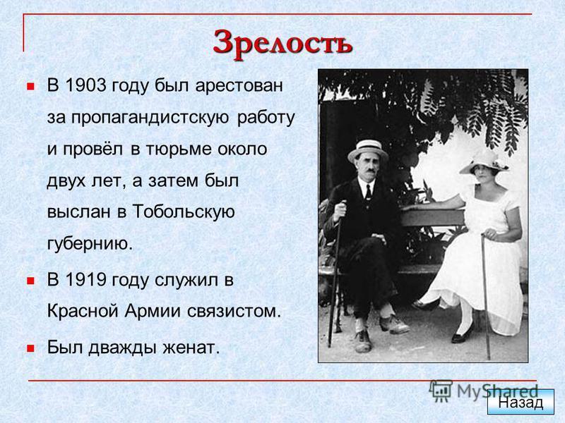 Зрелость В 1903 году был арестован за пропагандистскую работу и провёл в тюрьме около двух лет, а затем был выслан в Тобольскую губернию. В 1919 году служил в Красной Армии связистом. Был дважды женат. Назад