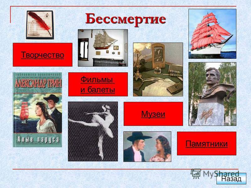 Бессмертие Творчество Фильмы и балеты Музеи Памятники Назад
