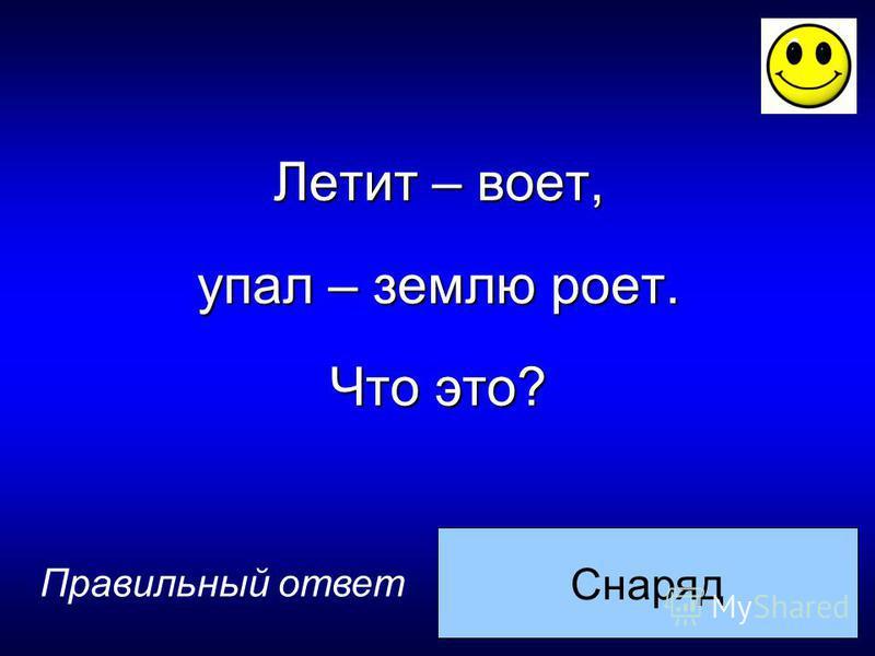 Снаряд Правильный ответ Летит – воет, упал – землю роет. Что это?