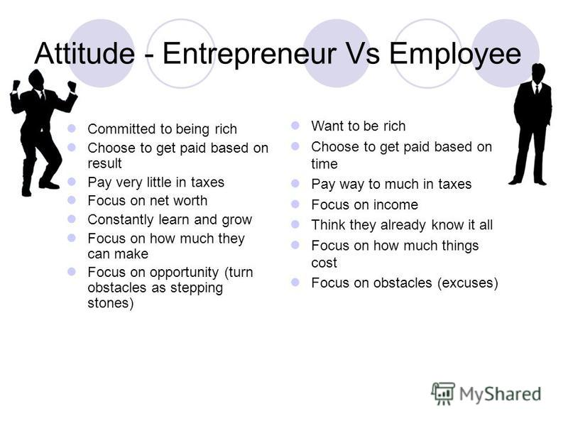 Attitude - Entrepreneur Vs Employee Committed to being rich Choose to get paid based on result Pay very little in taxes Focus on net worth Constantly learn and grow Focus on how much they can make Focus on opportunity (turn obstacles as stepping ston