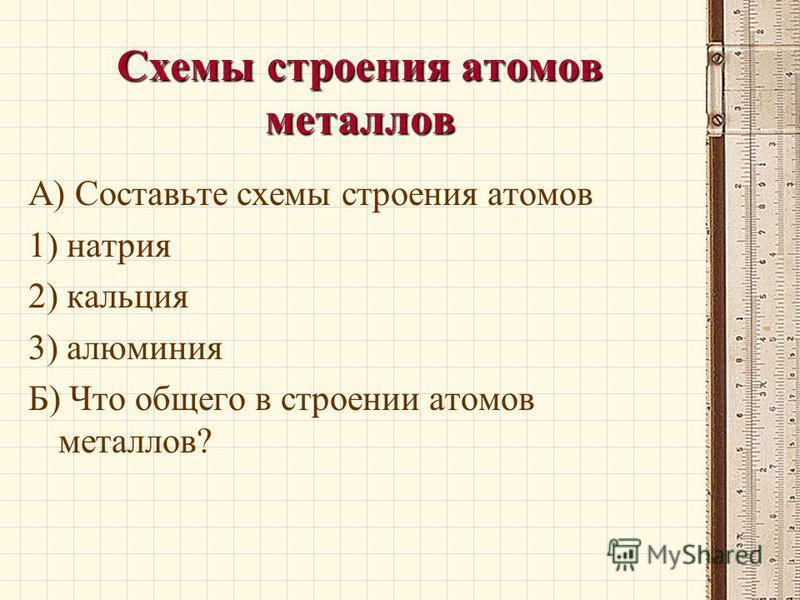 Схемы строения атомов металлов