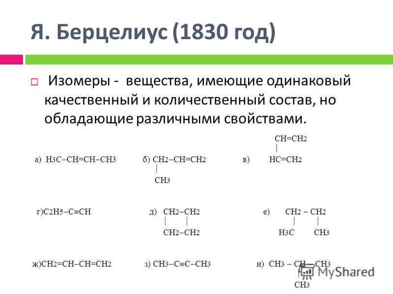 Я. Берцелиус (1830 год ) Изомеры - вещества, имеющие одинаковый качественный и количественный состав, но обладающие различными свойствами. СН=СН 2 а) Н 3 С СН=СН СН3 б) СН 2 СН=СН 2 в) НС=СН 2 СН 3 г)С 2 Н 5 С СН д) СН 2 СН 2 е) СН 2 СН 2 СН 2 СН 2 Н