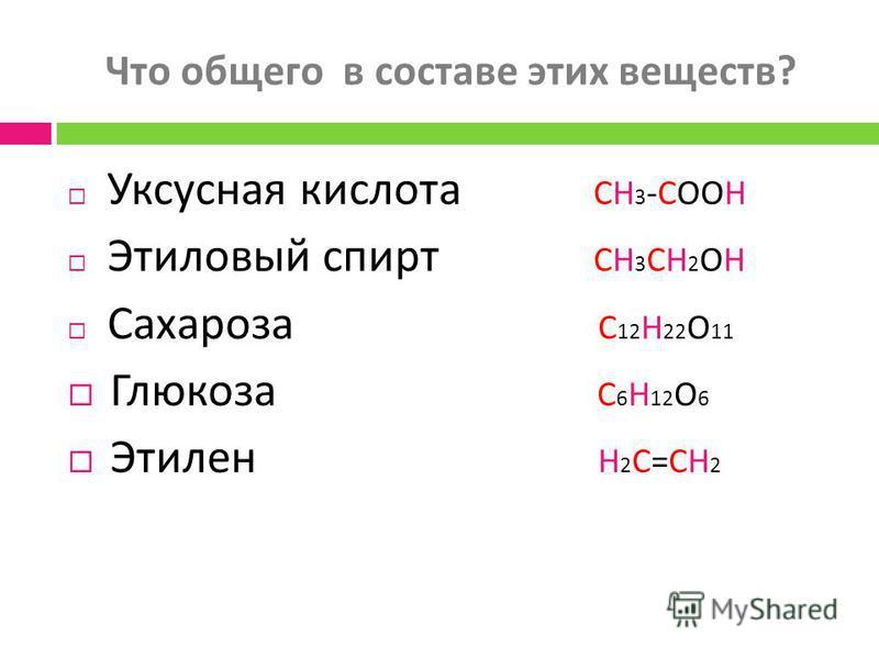 Что общего в составе этих веществ ? Уксусная кислота CH 3 -COOH Этиловый спирт CH 3 CH 2 OH Сахароза C 12 H 22 O 11 Глюкоза C 6 H 12 O 6 Этилен H 2 C=CH 2