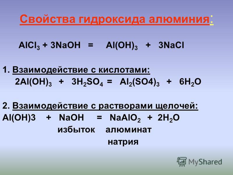 Свойства гидроксида алюминия : AlCl 3 + 3NaOH = Al(OH) 3 + 3NaCl 1. Взаимодействие с кислотами: 2Al(OH) 3 + 3H 2 SO 4 = Al 2 (SO4) 3 + 6H 2 O 2. Взаимодействие с растворами щелочей: Al(OH)3 + NaOH = NaAlO 2 + 2H 2 O избыток алюминат натрия