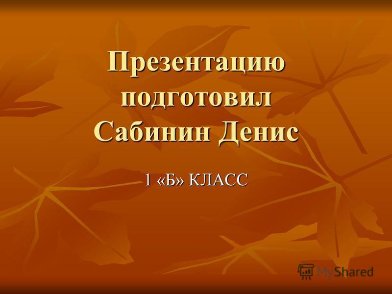 Презентацию подготовил Сабинин Денис 1 «Б» КЛАСС
