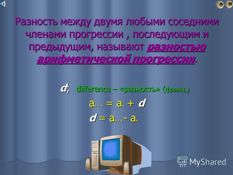 Определение арифметической прогрессии Арифметической прогрессией называется последовательность, каждый член которой, начиная со второго, получается прибавлением к предыдущему одного и того же числа. Арифметической прогрессией называется последователь
