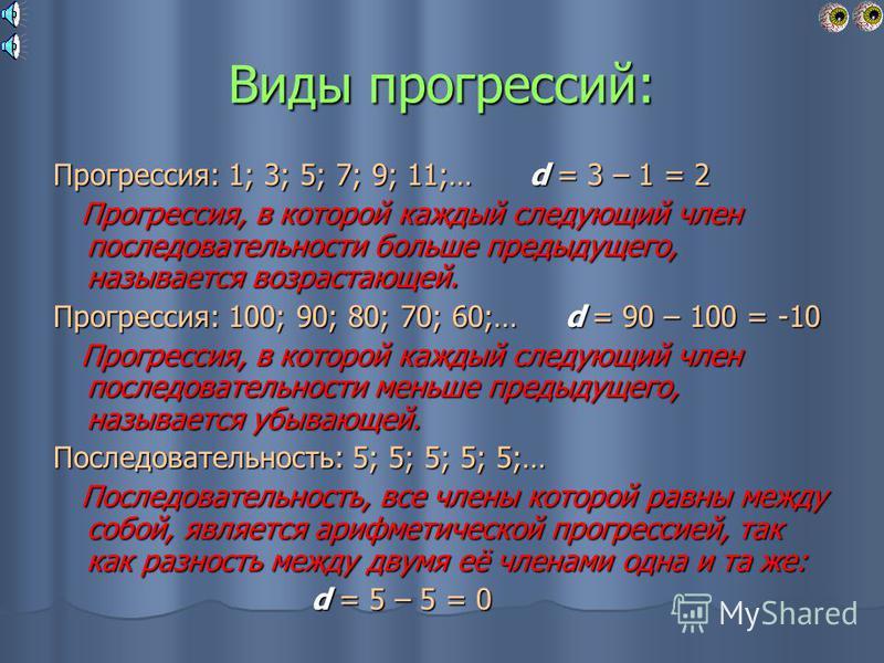 Разность между двумя любыми соседними членами прогрессии, последующим и предыдущим, называют разностью арифметической прогрессии. d; difference – «разность» ( франц.) d; difference – «разность» ( франц.) а n + 1 = а n + d а n + 1 = а n + d d = a n +