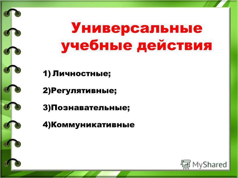 Универсальные учебные действия 1) Личностные; 2)Регулятивные; 3)Познавательные; 4)Коммуникативные