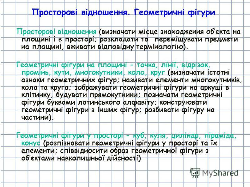 Просторові відношення. Геометричні фігури Просторові відношення (визначати місце знаходження обєкта на площині і в просторі; розкладати та переміщувати предмети на площині, вживати відповідну термінологію). Геометричні фігури на площині - точка, ліні