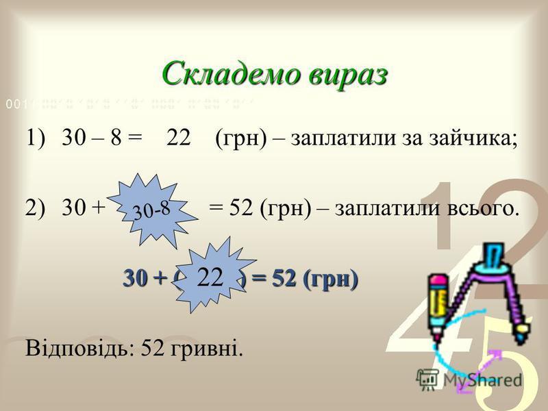 Складемо вираз 1)30 – 8 = 22 (грн) – заплатили за зайчика; 2)30 + 22 = 52 (грн) – заплатили всього. 3 0 + (30 - 8) = 52 (грн) Відповідь: 52 гривні. 30-8 22