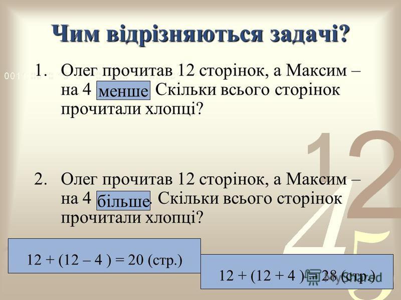 Чим відрізняються задачі? 1.Олег прочитав 12 сторінок, а Максим – на 4 менше. Скільки всього сторінок прочитали хлопці? 2.Олег прочитав 12 сторінок, а Максим – на 4 більше. Скільки всього сторінок прочитали хлопці? 12 + (12 – 4 ) = 20 (стр.) 12 + (12